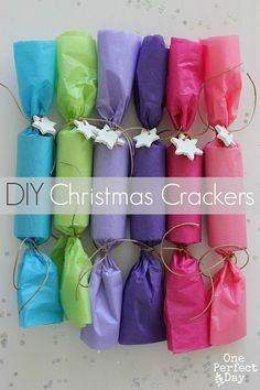 simple coloured tissue paper rainbow crackers