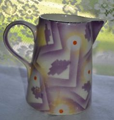 ART DECO VINTAGE SIGNED DITMAR UPBACH #3/4 CZECH POTTERY PITCHER CZECHOSLOVAKIA