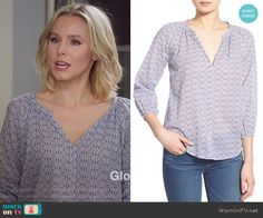 Eleanor's blue printed blouse on The Good Place.  Outfit Details: https://wornontv.net/60403/ #TheGoodPlace