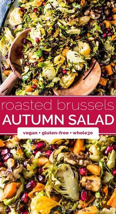 This healthy and DELICIOUS Shaved Brussels Sprout Salad is full of autumn favs like sweet potatoes, toasted walnuts, mandarin oranges, and pomegranate. Veggie Recipes, Vegetarian Recipes, Healthy Recipes, Vegetarian Salad, Pasta Recipes, Cake Recipes, Chicken Recipes, Soup And Salad, Pasta Salad
