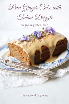 Pear Ginger Cake with Tahini Drizzle Recipe. Wholesome gluten-free vegan moist pear cake with healthy gluten-free mix and lovely tahini maple sauce. Baking Recipes, Cake Recipes, Dessert Recipes, Vegan Treats, Vegan Desserts, Gluten Free Cakes, Vegan Gluten Free, Pear And Ginger Cake, Fresh Ginger
