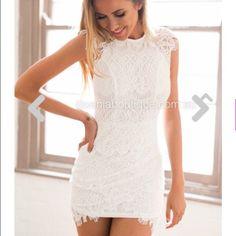 White bodycon lace dress Size small white lace tight dress Dresses Mini