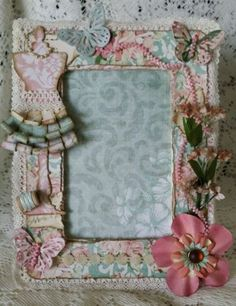Shabby chic altered scrapbook picture frame - I love the little curls on the dress.
