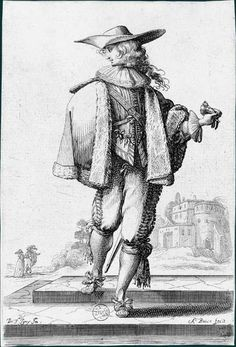 Copy after Bosse: side view of a nobleman going down a step, holding a glove, wearing a hat and a rich costume with fur trimmed mantel; large building and a couple walking in the background. Historical Maps, Historical Clothing, 17th Century Fashion, 18th Century, Dutch Golden Age, Merian, Theatre Costumes, Wearing A Hat, Baroque Fashion