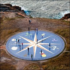 La Rosa de los Vientos, in A Coruña is a compass rose that represents the cardinal points in front of the Tower of Hercules, the oldest working lighthouse in the world where we can get the best views over the city and sea. | @PinFantasy