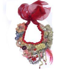 Vagabond- tribal inspired textile art neckpiece