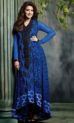 USD 76.64 Blue Raveena Tandon Faux Georgette Bollywood Anarkali Salwar Kameez 27673