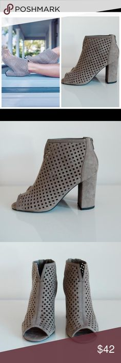 "Taupe Laser Cut Bootie Heel height measures 3.75"" Shoes Ankle Boots & Booties"