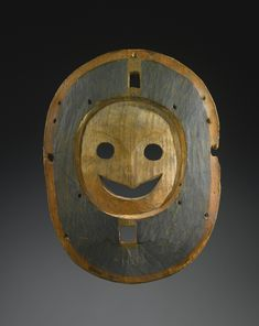 Yup'ik Polychrome Wood Mask, Alaska wood, mineral pigments. 8 1/4 in. height by 7 in. width