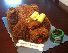 Brown puppy cake with fondant bow