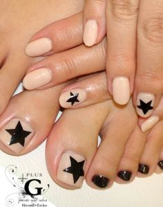Beige with black stars/ nail ideas/ matching manicure and pedicure