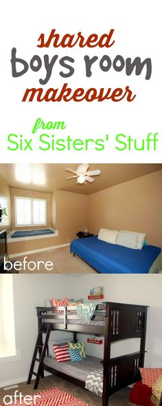 Shared Boys Room Makeover from SixSistersStuff.com