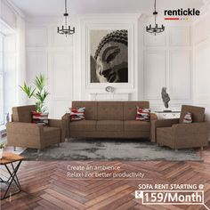 Say YES to a comfortable living space with beautiful sofas that add that extra oomph to your living room! Rent Now Thinking of Renting. Think of Rentickle! Home Furniture, Furniture Design, Beautiful Sofas, Living Spaces, Living Room, Renting, Sofa Set, Hyderabad, Sofa Design