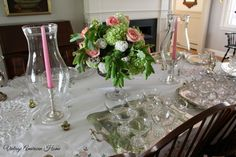 Bridal shower buffet with vintage silver and cut glass cake pedestals and centerpiece.