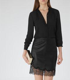 Reiss Nadja Women's Black Sheer Silk Blouse