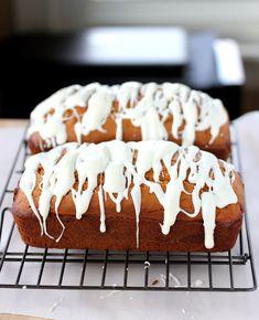 Lisa's Dinnertime Dish:  Pumpkin Bread with Cream Cheese Glaze