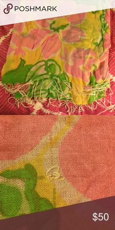 Lilly Pulitzer Murfee Scarf One of the original Murfee scarves! Beautiful yellow, pink, and green design with butterflies on a cashmere silk blend scarf. Perfect condition other than one small pull. worn less than 5 times Lilly Pulitzer Accessories Scarves & Wraps
