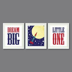 Rocket Ship Art Print Set of Three Big Little One, Outer Space-Navy Blue, Red, Green, Yellow OR Choose Color- Modern Wall Art via Etsy Big Boy Bedrooms, Baby Boy Rooms, Baby Boy Nurseries, Ship Art, Room Themes, Modern Wall Art, Outer Space, Dream Big, New Baby Products
