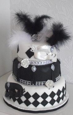 Masquerade Ball Wedding cake Black and White Unique!