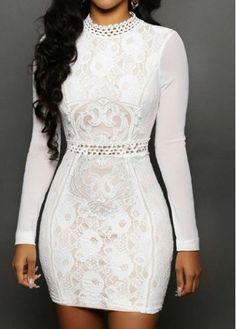 Long Sleeve White High Neck Bodycon Dress - USD $27.73