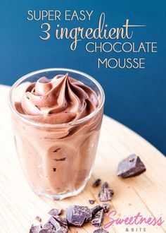 No eggs, no fuss. Just a bit of heating, a bit of chilling and some whipping. The easiest mousse you'll ever make! easy 3 ingredients easy for a crowd easy healthy easy party easy quick easy simple Healthy Chocolate Mousse, Easy Chocolate Desserts, Köstliche Desserts, Chocolate Recipes, Delicious Desserts, Dessert Recipes, Chocolate Mousse Recipe No Cream, Chocolate Mouse Cake Filling, Chocolate Mouse Recipe