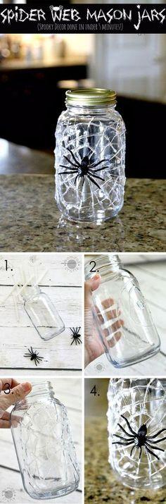 10-Minute Hot Glue Spiderweb Mason Jar