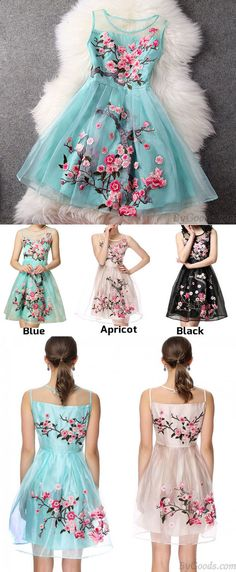 Do you want to find a pretty party dress ? Handmade Embroidery Flower Organza Party Dress #handmade #flower #dress #party #cute #women