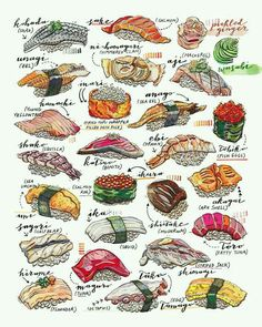 Signed in pencil on the back. Printed on Epson Velvet Fine Art paper L'art Du Sushi, Sushi Art, Sushi Food, Food Illustrations, Illustration Art, Sketch Note, Food Sketch, Watercolor Food, Food Painting