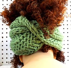 Knitted Scarf Infinity Scarf Cowl Scarf Sage Green Scarf BOA WInter Scarf 35.00 USD by #strawberrycouture on #Etsy - MUST SEE!