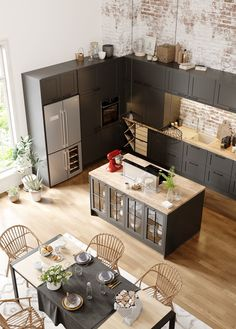 Open kitchen to the living room or dining room: 20 examples of copying . - Open kitchen to living room or dining room: 20 examples for copying room # - Open Kitchen And Living Room, Home Decor Kitchen, Interior Design Kitchen, Kitchen Furniture, Home Kitchens, Dining Room, Decorating Kitchen, Kitchen Ideas, Room Kitchen