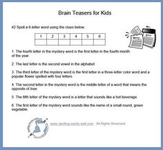 These brain teasers for kids help kids to practice logic, reading and spelling skills in a FUN, challenging way! Word Brain Teasers, Printable Brain Teasers, Brain Teasers For Kids, Brain Teaser Games, School Age Activities, Dementia Activities, Elderly Activities, Enrichment Activities, Mind Puzzles