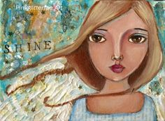 Blonde Angel Mixed media Acrylic painting  by pinkglitterfae