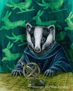 Renaissance Badger Portrait fine art print by EllenPaquetteArt
