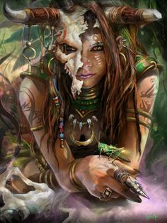 Witch Doctor, made for a Diablo 3 fan art contest. (fantasy art, female with demon horns) Dark Fantasy, Fantasy Women, Fantasy Girl, Fantasy Witch, Art And Illustration, Art Illustrations, Fantasy Inspiration, Character Inspiration, Character Art
