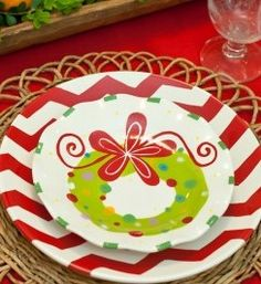 Add some fun to your holiday dishes with this cute Wreath Ruffle Plate. The children will beg to set the kids table with this precious plate!