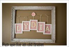 Darling for a girls bedroom! Vintage or thrift store frame
