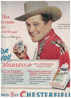 Dennis Morgan In Cowboy Outfit in 1951 Chesterfield Cigarettes Ad #Chesterfield