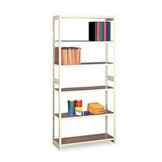 """NEW - Regal Shelving Starter Set, 6 Shelves, 36w x 15d x 76h, Sand - RGL1536SSD by Tennsco. $164.62. 75. Heavy-duty rolled steel, sand color frame with oak laminate shelves that adjust every 1-1/2"""". Over 600-lb. capacity per shelf. Each Starter Set and Add-On Unit includes five adjustable shelves, top shelf and 12 shelf supports. Starter set. Color: Sand; Overall Width: 36""""; Overall Depth: 15""""."""