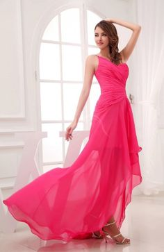Romantic Asymmetric Neckline Chiffon Hi-Lo Ruching Wedding Guest Dress