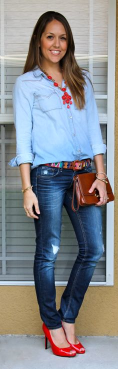 Denim shirt Blue oxford shirt Brown belt Jeans  Red shoes Red statement necklace