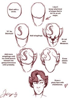 anotherwellkeptsecret:  Someone asked me how I draw Sherlock's hair and the answer is very sarcastically.
