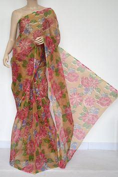Menhdi Green JP Kota Doria Floral Print Cotton Saree (without Blouse) 15328
