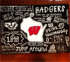 DIY Wisconsin Craft but obviously I would make it South Carolina Gamecocks University Of Cincinnati, Cooler Painting, Madison Wisconsin, Wisconsin Badgers, Up House, Grad Parties, Crafty Craft, Bucky, Fun Activities