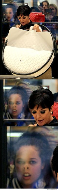 Idk what's funnier...the girl in the window or the fact that Kris Jenner is actually considering buying a purse with HULA HOOPS as handles.