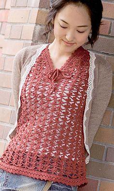 Crochet shirt - flowery stitch pattern - free - Japanese diagram.