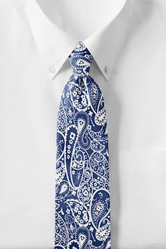 Lands' End - White Paisley Necktie
