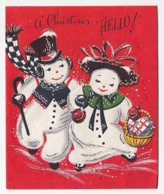 Vintage Greeting Card Christmas Mr & Mrs Snowman Gilt Mid-Century Hello!