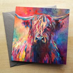 Buy our stunning animal cards by Sue Gardner. Blank inside, 3 for and Free UK Delivery! Highland Cow Painting, Highland Cow Art, Colorful Animal Paintings, Colorful Animals, Art Journal Inspiration, Painting Inspiration, Scottish Cow, Watercolor Animals, Art Drawings
