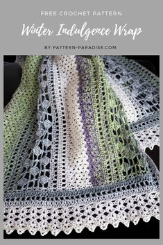 Free Crochet Pattern: Winter Indulgence Wrap - New Ideas Poncho Au Crochet, Crochet Wrap Pattern, Crochet Shawls And Wraps, Afghan Crochet Patterns, Crochet Scarves, Crochet Stitches, Crochet Afghans, Crochet Blankets, Crochet Patterns For Scarves