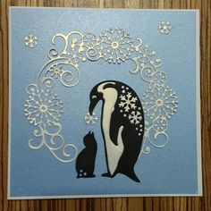 Christmas card made using Papercraft Essentials free snowflake penguin dies and Amy Design Vintage Winter die. CF. Christmas Cards To Make, Handmade Christmas, Holiday Cards, Christmas Holidays, Christmas Ideas, Paper Art, Paper Crafts, Card Crafts, Vintage Winter